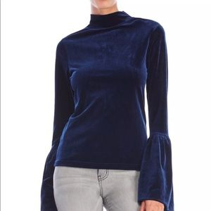 Blue velvet luxurious top